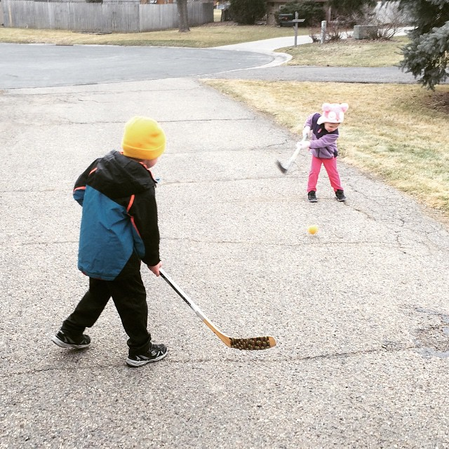 The backyard rink may have melted but that doesn't seem to phase these MN kids..
