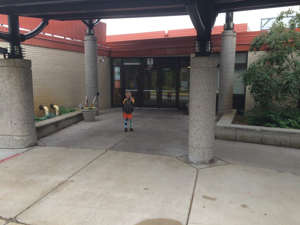 Brecken last day of K picture out in front of the building.