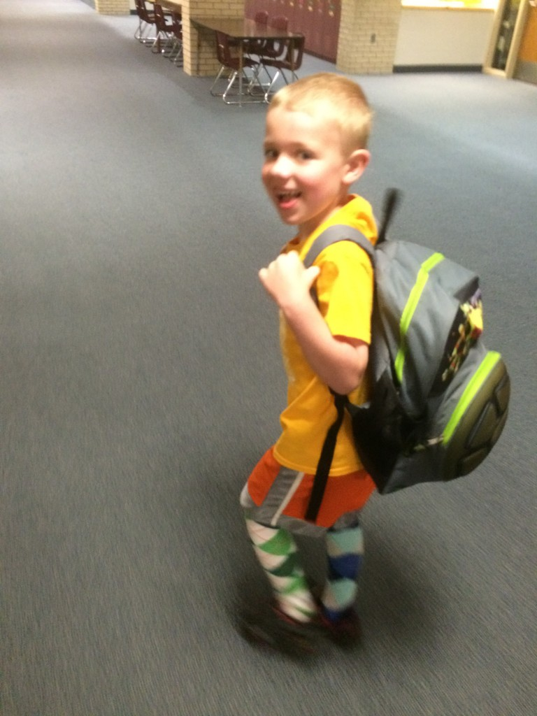 Brecken last day of K picture walking to the Y in the morning.