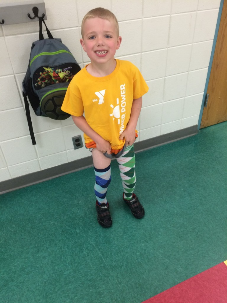 Brecken last day of K picture showing off his crazy socks for crazy sock day.