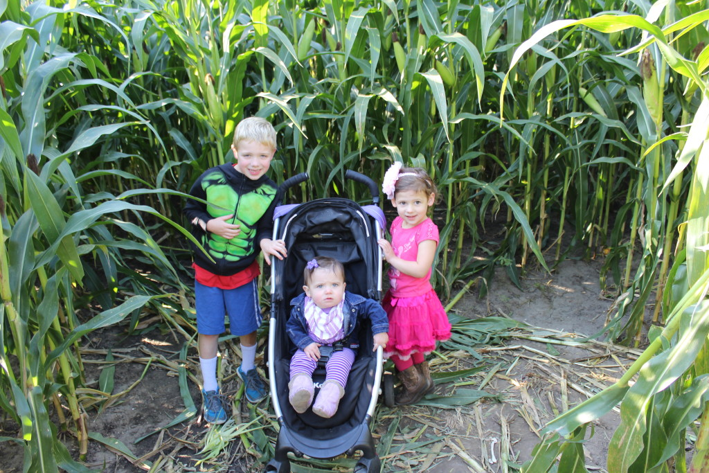 Brecken, Gretchen, Madiana in the corn maze at a dead end