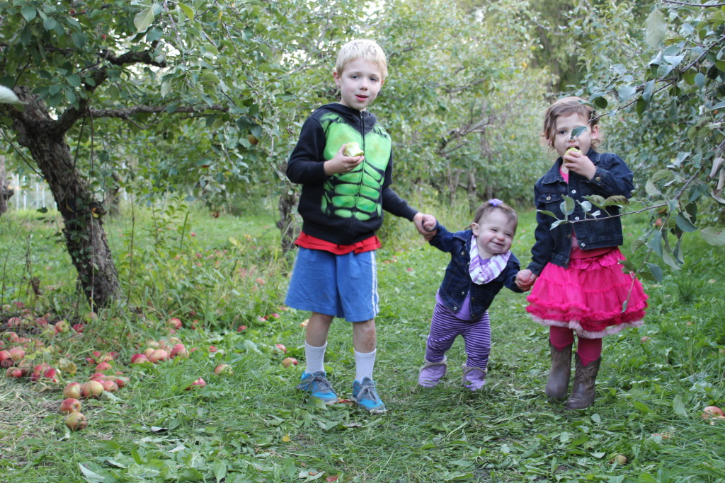 Brecken, Gretchen, and Madiana walking around the Orchard