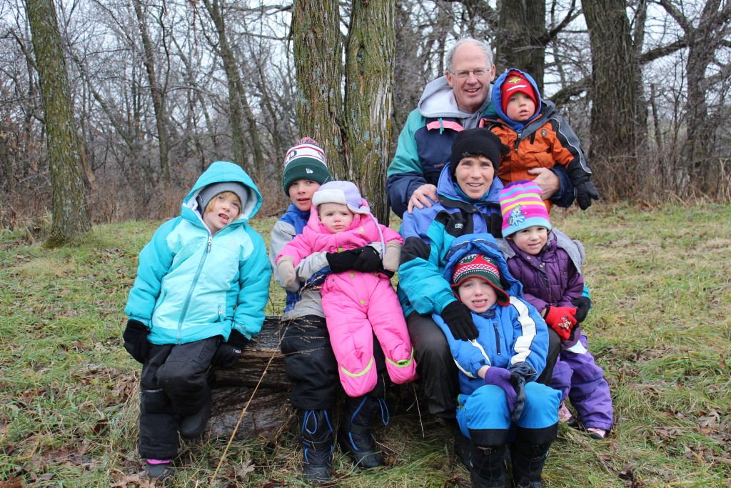Grandma and Grandpa Walker with their Grandkids at the Tree Farm